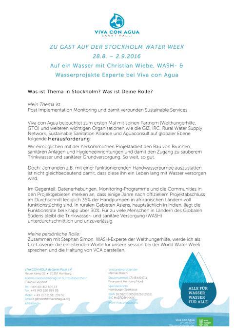 Auf ein Wasser mit Chris Wiebe: Stockholm Water Week