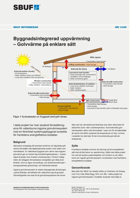 SBUF Informerar, nr. 12-09 Byggnadsintegrerad uppvärmning – Golvvärme på enklare sätt