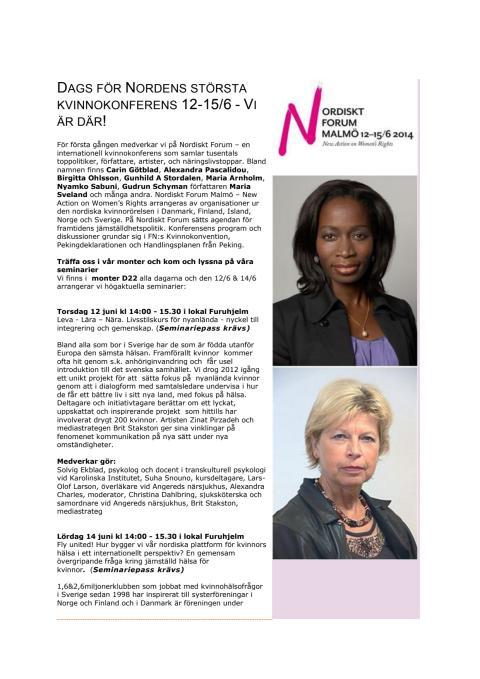 Vi medverkar på Nordens största kvinnokonfrens