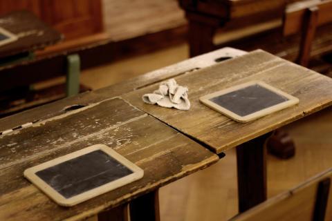 Skolestuen i Børnenes Museum - kridt og tavler