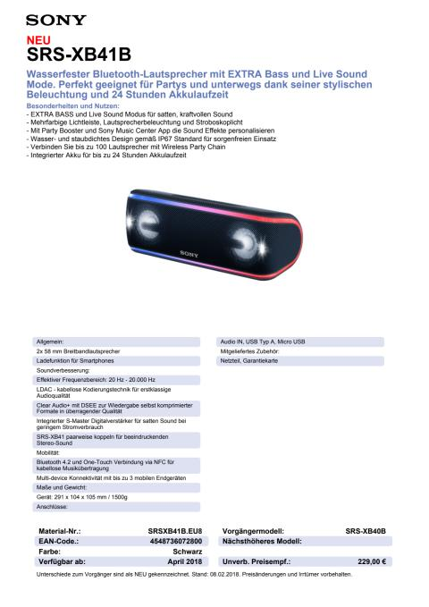 Datenblatt Wireless Speaker SRS-XB41 von Sony