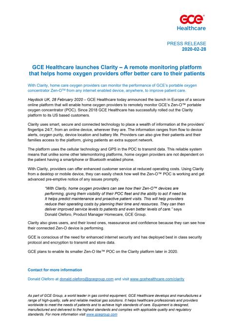 GCE Healthcare launches Clarity – A remote monitoring platform that helps home oxygen providers offer better care to their patients