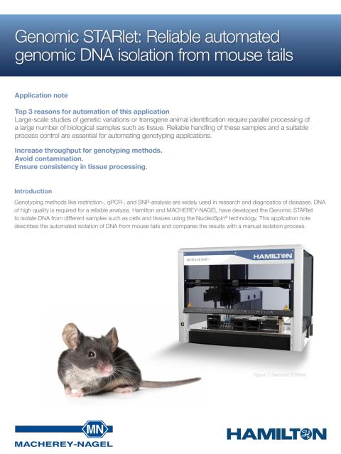 Genomic STARlet: Reliable automated genomic DNA isolation from mouse tails