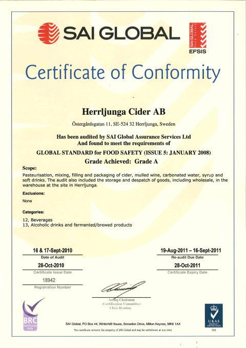 Herrljunga Cider är BRC-certifierade
