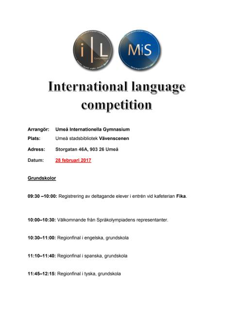 Program och tidsschema regionfinalen 28/2
