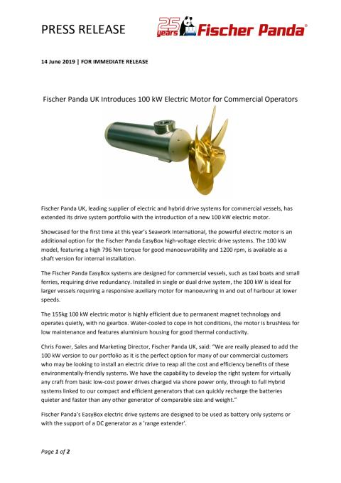 Fischer Panda UK Introduces 100 kW Electric Motor for Commercial Operators