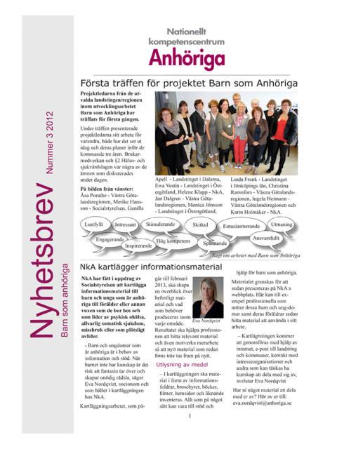 Läs det tredje nyhetsbrevet 2012 inom projektet Barn som Anhöriga