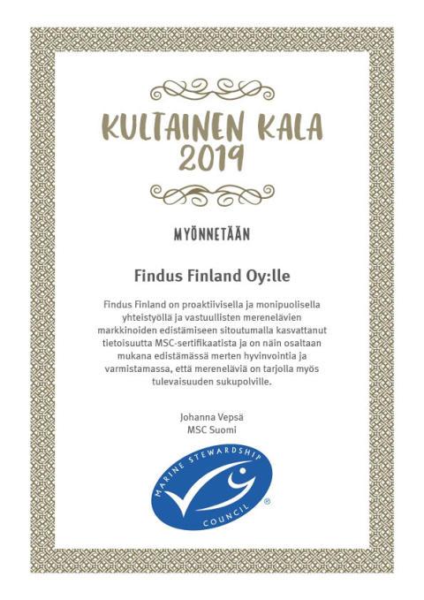 Vuoden 2019 Kultainen Kala -palkinto Findukselle