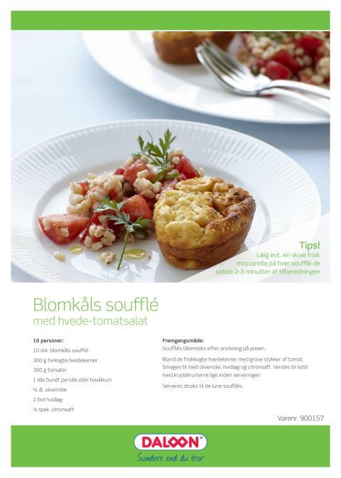 Opskrift: Blomkåls soufflé med hvede/tomat salat