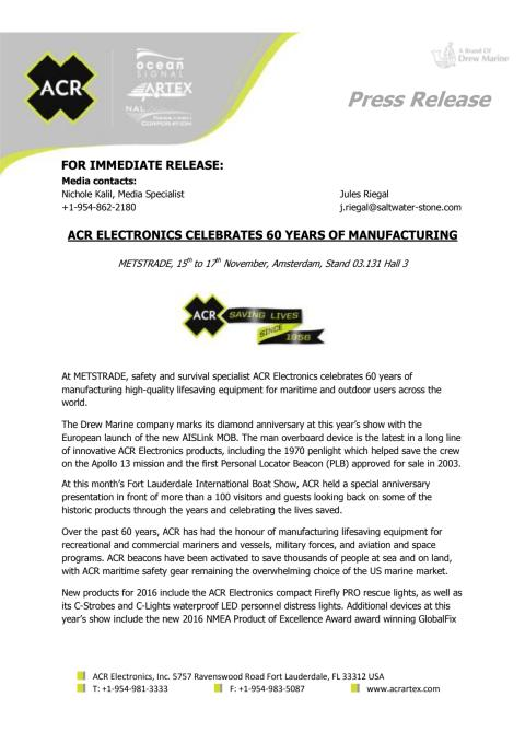 ACR Electronics Celebrates 60 Years of Manufacturing