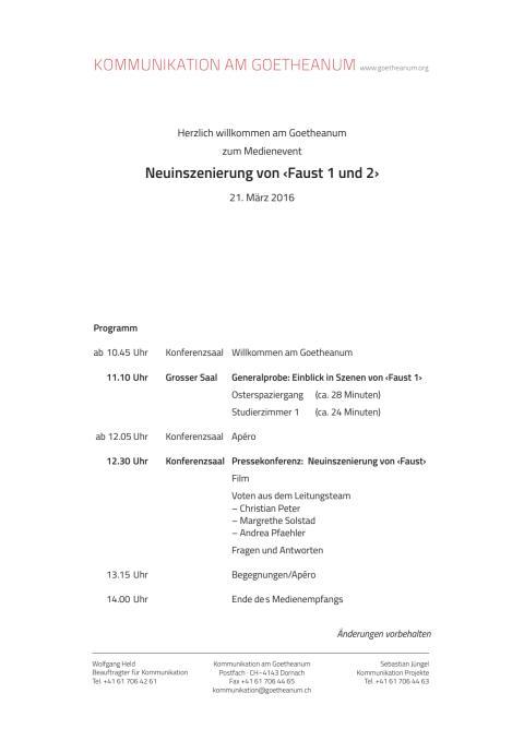 """Goetheanum-Bühne: Medienevent am 21. März 2016 zur Neuinszenierung von Goethes """"Faust 1 und 2"""" (ungekürzt)"""
