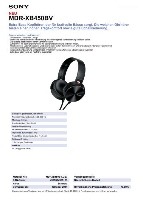 Datenblatt MDR-XB450BV von Sony