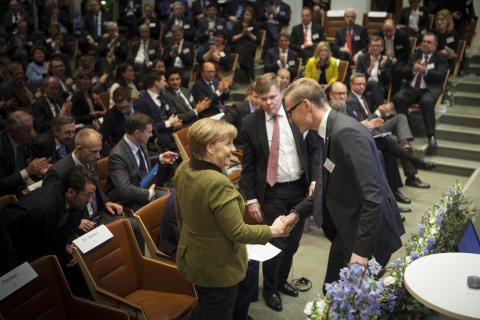 Angela Merkel och Olof Persson på German Swedish Tech Forum