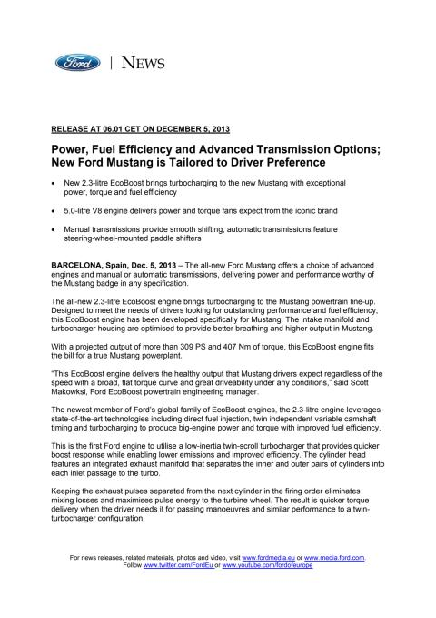 FORD MUSTANG POWERTRAIN - INTERNATIONAL PRESS RELEASE