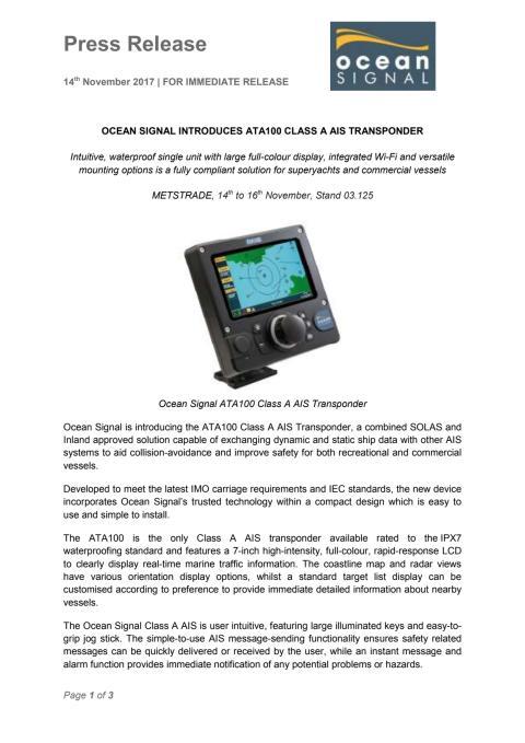 Ocean Signal Introduces ATA100 Class A AIS Transponder at METSTRADE