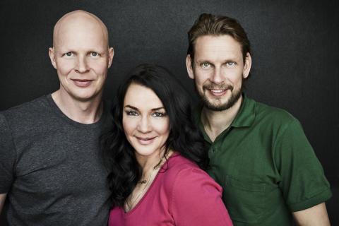 Mattias Särnholm, Sofia Wistam, Johnnie Krigström, Sofias änglar. FOTO: MAGNUS RAGNVID/KANAL 5