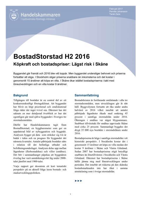 BostadStorstad H2 2016