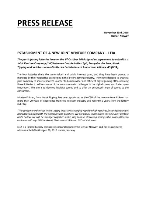 ESTABLISMENT OF A NEW JOINT VENTURE COMPANY – LEIA