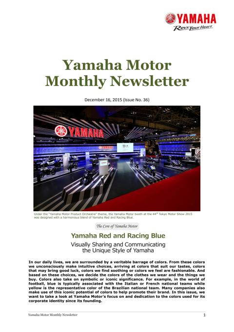 Yamaha Motor Monthly Newsletter  No. 36(Dec.2015) Yamaha Red and Racing Blue