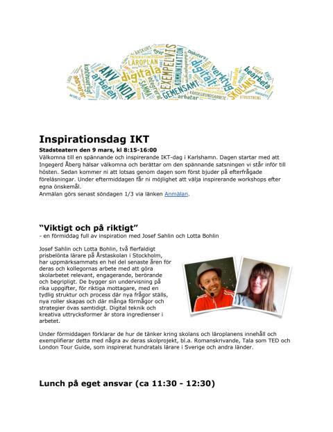 Inbjudan till IKT-dag 9 mars