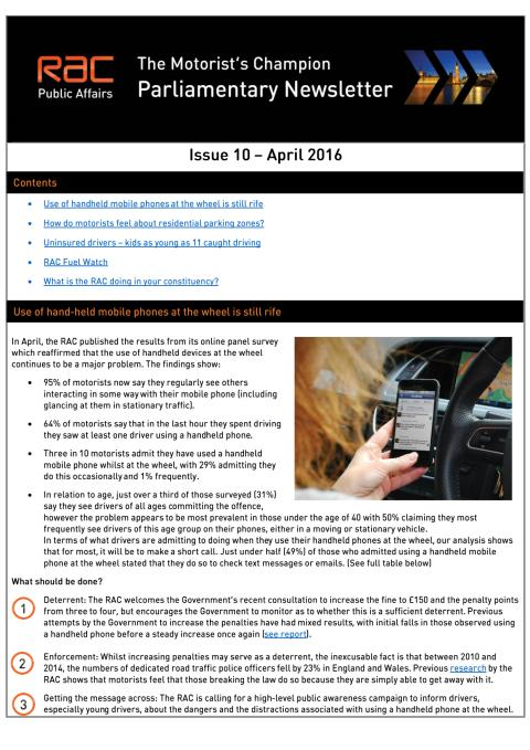 RAC Parliamentary Newsletter #10 - April 2016