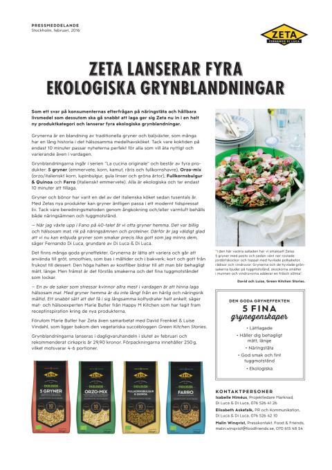 Pressmeddelande Zeta Ekologiska Gryner