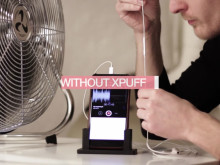 Demonstration with and without the xpuff in front of fan