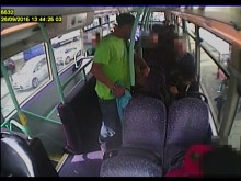 CCTV footage of the incident on the route 18 bus at approx 13:55hrs