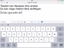 Eksempler på redigeringsmuligheter i Lingit STL+ for iPad