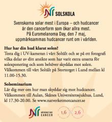 Nätverket mot cancers Solskola besöker Lund på Euromelanoma Day 7 maj 2012