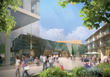 Nya mötesplatser och bostäder i vinnande förslaget i Huddinge Centrums arkitekttävling Paradiset