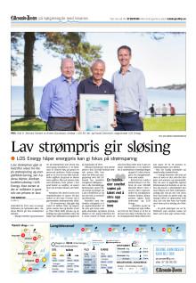 Presseklipp Lillesand-Posten: Lav strømpris gir sløsing