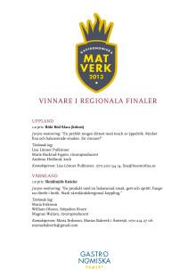 Vinnare i regionala finaler, Matverk 2013