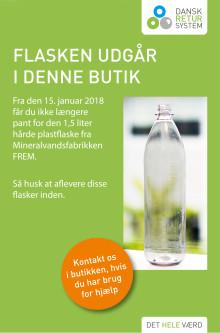 1,5 liters plastflaske fra FREM udgår