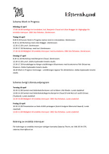 Isols schema i Lund 15-20 april 2013