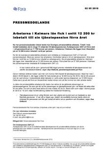 Arbetarna i Kalmars län fick i snitt 12 200 kr inbetalt till sin tjänstepension förra året