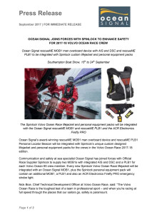 Ocean Signal Joins Forces with Spinlock to Enhance Safety  for 2017-18 Volvo Ocean Race Crew