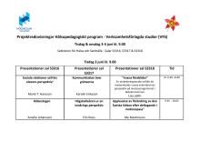 Schema Projektredovisningar Hälsopedagogiskt program