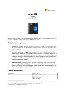 Faktaark og spesifikasjoner Lumia 950