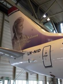 Norwegianpilot valde sin släkting, operasångerskan Christina Nilsson till att pryda ett nytt flygplan