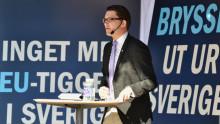 Jimmie Åkesson håller pressträff inför talet i Almedalen