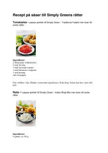 Recept på såser till Simply Greens rätter