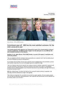 Commitment pays off – BDO has the most satisfied customers for the sixth consecutive year