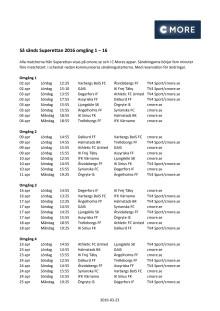 Superettan 2016 Spelschema omgång 1-16