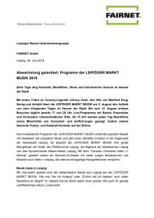 Programm Leipziger Markt Musik 2018