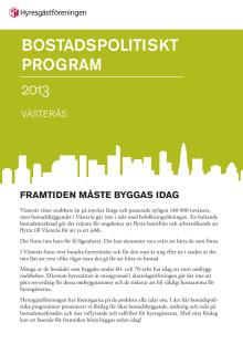 Lokalt bostadspolitiskt program för Hyresgästföreningen i Västerås