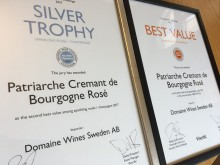 Patriarche Crémant får SILVER TROPHY och BEST VALUE i Vinordic Wine Challenge
