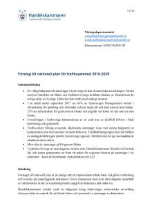 Förslag till nationell plan för trafiksystemet 2018-2029
