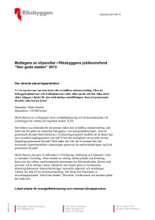 Stipendiater Riksbyggens jubileumsfond 2013