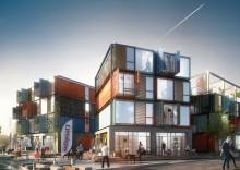 Containrar i stålhyllor blir bostäder